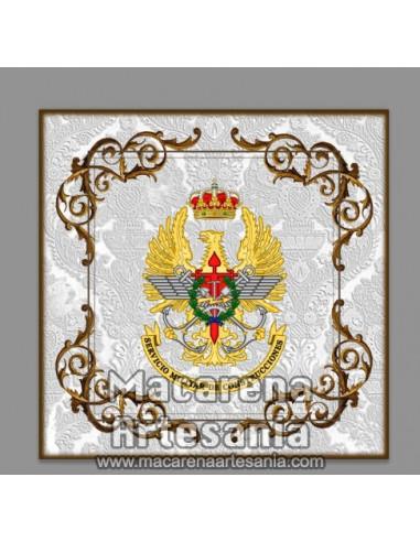 Azulejo cuadrado con emblema del Servicio Militar de Construcciones. Solo en venta en nuestra tienda online