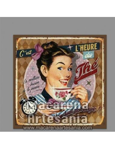 Azulejo cuadrado tipo decoración vintage La hora del Te. Solo en venta en nuestra tienda online. Somos Fabricantes.