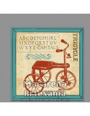 Azulejo cuadrado tipo decoración vintage con un triciclo. Solo en venta en nuestra tienda online. Somos Fabricantes.