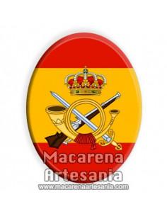 Cerámica ovalada con el emblema de la Infanteria y bandera española solo en venta en nuestra Tienda Online