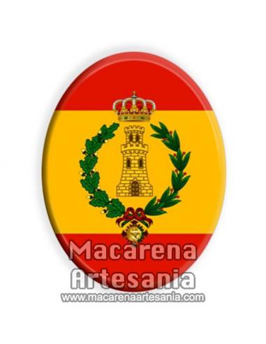 Cerámica ovalada con el emblema de Ingenieros y bandera española solo en venta en nuestra Tienda Online