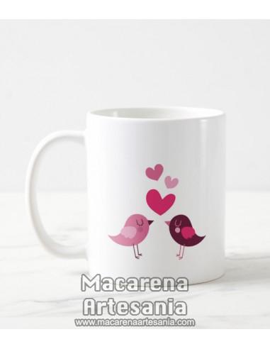 Taza de cerámica con pareja de pajaritos enamorados. Solo en venta en alta calidad en nuestra tienda online