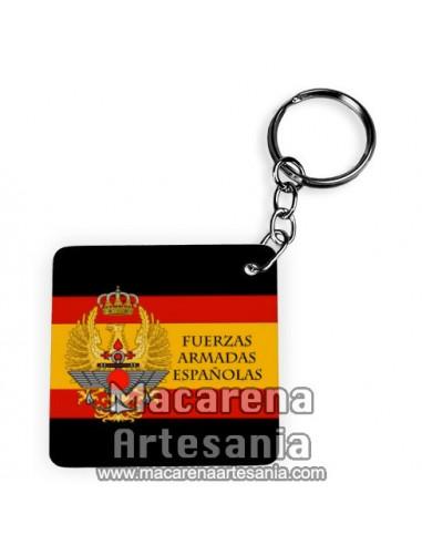 Llavero Cuadrado Llavero Cuadrado con el emblema de las Fuerzas Armadas Españolas, solo en venta en nuestra tienda online.