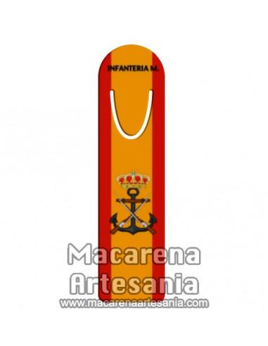 Marca página con emblema de la Infanteria de Marina con bandera de España, en venta en nuestra tienda online.