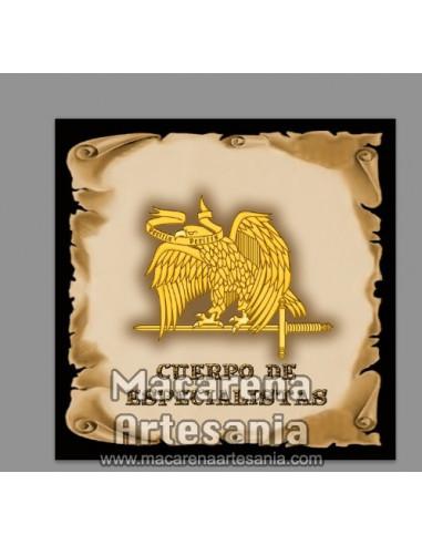 Azulejo cuadrado con el emblema del Cuerpo de Especialistas. Mod: Pergamino. Solo en venta en nuestra tienda online.