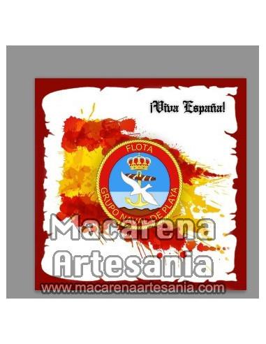 Azulejo cuadrado con emblema del Grupo Naval de Playa y Viva España. En venta en nuestra tienda online.