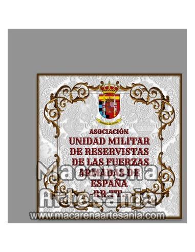 Azulejo cuadrado con emblema de la ASOCIACIÓN UNIDAD MILITAR DE RESERVISTAS DE FF.AA.