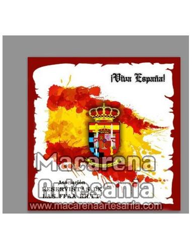 Azulejo cuadrado con emblema de la ASOCIACIÓN UNIDAD MILITAR DE RESERVISTAS DE FF.AA. mod:02