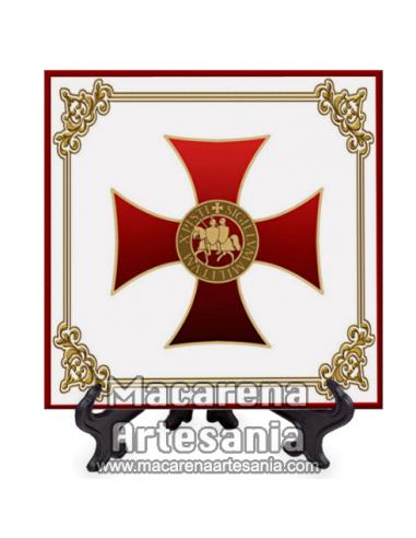 Azulejo cuadrado tipo decoración vintage con Cruz y sello de Caballero Templario. Solo en venta en nuestra tienda online.