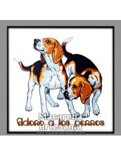 Azulejo cuadrado tipo decoración vintage con el lema Adoro a los Perros. Solo en venta en nuestra tienda online.