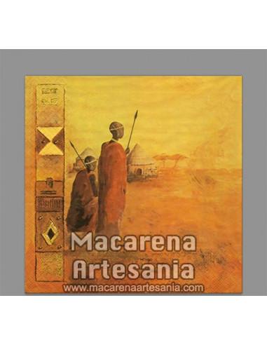 Azulejo cuadrado tipo decoración vintage con motivo africano. Solo en venta en nuestra tienda online.