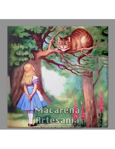 Azulejo cuadrado de Alicia en el Pais de las Maravillas y gato. Solo en venta en nuestra tienda online.
