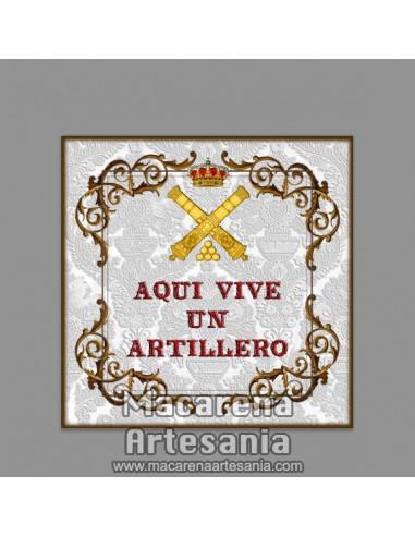 """Azulejo cuadrado con con emblema y el texto """"Aqui vive un Artillero"""" solo en venta en nuestra tienda online."""