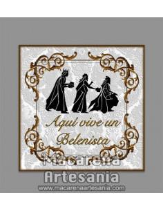 """Azulejo cuadrado para regalo al belenista y el texto """"Aqui vive un Belenista"""" solo en venta en nuestra tienda online."""