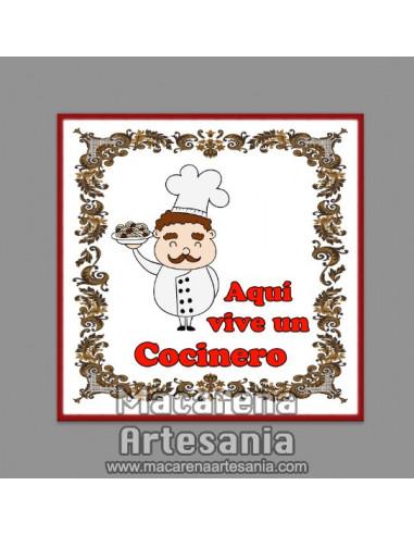 Azulejo con el texto Aqui vive un Cocinero. Solo en venta en nuestra tienda online