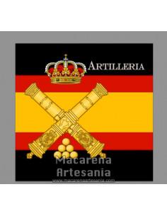 Azulejo cuadrado con el emblema de la Artilleria y bandera de España. Solo disponible en nuestra tienda online.