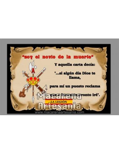Azulejo rectangular Soy el novio de la muerte de la Legíon española en venta solo en nuestra tienda online.
