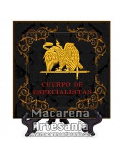 Azulejo cuadrado con el emblema del Cuerpo de Especialistas -Diseño negro-. Solo disponible en nuestra tienda online.
