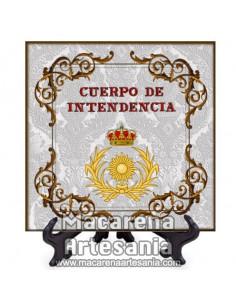 Azulejo cuadrado con emblema del Cuerpo de Intendencia. Solo disponible en nuestra tienda online.