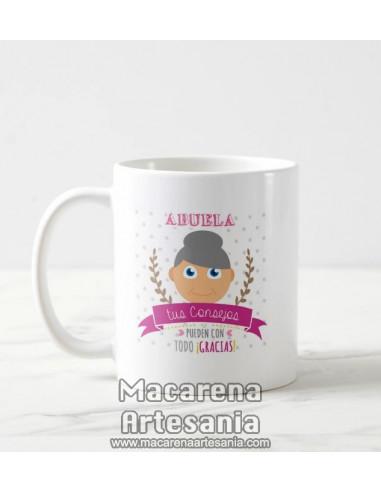 Taza de cerámica Abuela tus consejos pueden con todo ¡Gracias!, regalos para abuelos.