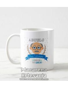 Taza de cerámica Abuelo tus consejos pueden con todo ¡Gracias!, regalos para abuelos.