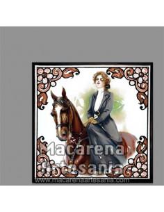 Azulejo cuadrado estilo vintage de mujer a caballo en venta en nuestra tienda online.