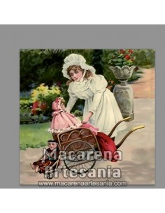 Azulejo cuadrado estilo vintage de niña con muñeca, en venta en nuestra tienda online.