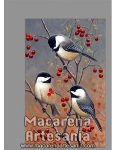 Azulejo rectangular tipo decoración vintage con tres pajaros y ramas. Solo en venta en nuestra tienda online.