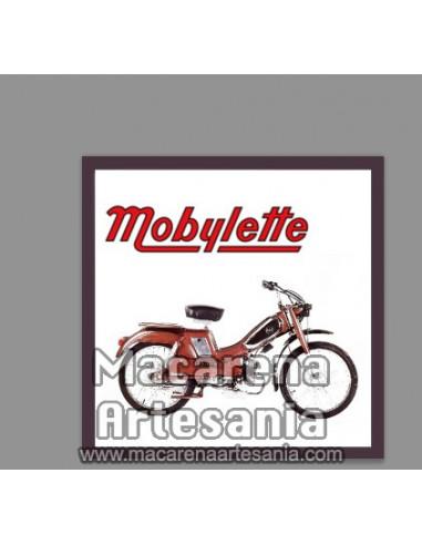 Azulejo cuadrado estilo vintage con mobylette , en venta en nuestra tienda online.
