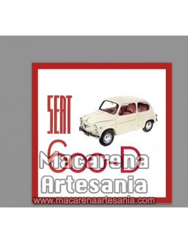 Azulejo cuadrado estilo vintage con el Seat 600 D , en venta en nuestra tienda online.