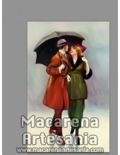 Azulejo rectangular de pareja paseando con motivos para decoración vintage. Solo en venta en nuestra tienda online.