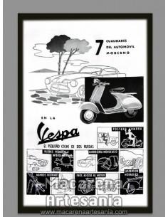 Reproducción en azulejo rectangular tipo decoración con publicidad Vespa. Solo en venta en nuestra tienda online.