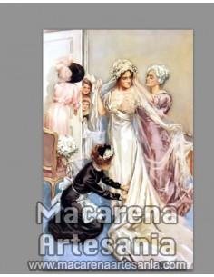 Azulejo rectangular con motivos para decoración vintage y temática de bodas. Solo en venta en nuestra tienda online.