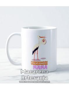 Taza de cerámica con el texto Felicidades Mama, regalos para las madres.