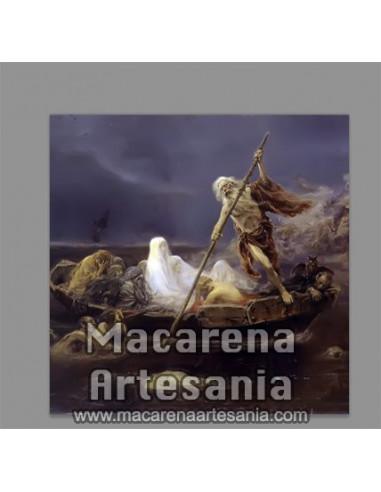 Azulejo cuadrado con Caronte (el barquero del infierno), solo en venta en nuestra tienda online.