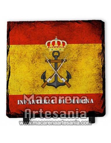 Pizarra cuadrada con Emblema de la Infanteria de Marina y bandera de España, solo en venta en nuestra tienda online.