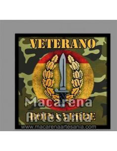 Azulejo cuadrado de Veterano Boina verde con emblema de las Operaciones Especiales. Solo en venta en nuestra tienda online