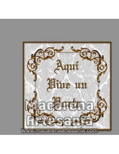 """Azulejo cuadrado para regalo al poeta y el texto """"Aqui vive un Poeta"""" solo en venta en nuestra tienda online."""