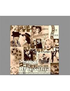 Azulejo cuadrado estilo vintage-retro con motivos cinematograficos, solo en venta en nuestra tienda online.