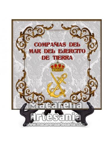 Azulejo cuadrado con escudo de las Compañias del mar del ejercito de tierra. Solo disponible en nuestra tienda online.