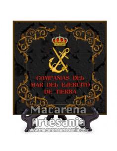 Azulejo con escudo de las Compañias del mar del ejercito de tierra -Diseño negro-Solo disponible en nuestra tienda online.