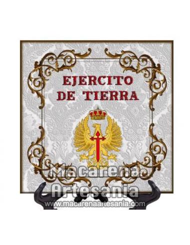 Azulejo cuadrado con el emblema del Ejercito de Tierra Español. Solo disponible en nuestra tienda online.