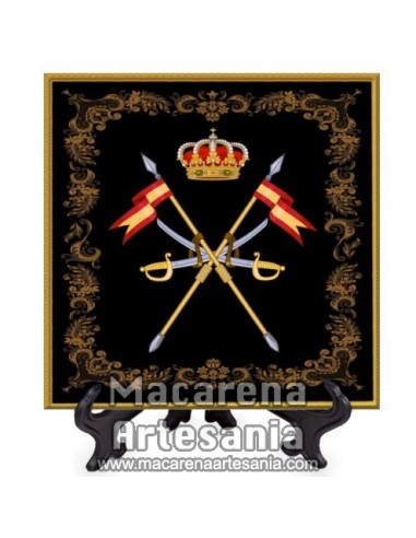 Azulejo cuadrado con el emblema de la Caballeria Española -Diseño negro-.Solo disponible en nuestra tienda online.