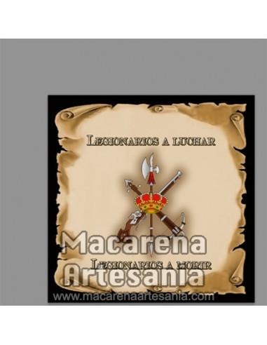 """Azulejo con emblema de la Legión de España y el texto """"legionario a luchar - legionario a morir"""""""