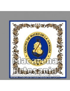 Azulejo cuadrado con emblema del Centro de Buceo de la Armada. Solo disponible en nuestra tienda online.