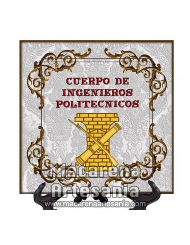 Azulejo cuadrado con el emblema del Cuerpo de Ingenieros Politécnicos. Solo en venta en nuestra tienda online