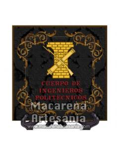 Azulejo cuadrado con el emblema del Cuerpo de Ingenieros Politécnicos con fondo negro.Solo disponible en nuestra tienda online.