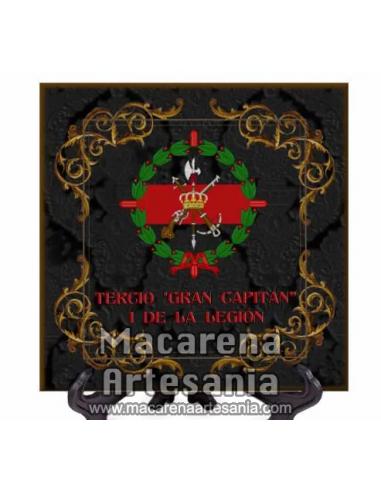 Azulejo cuadrado con el emblema del tercio Gran Capitan 1 de la Legión con fondo negro.Solo disponible en nuestra tienda online.