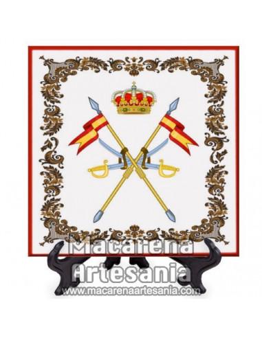 Azulejo cuadrado con el emblema de la Caballeria Española. Solo en venta en nuestra tienda online