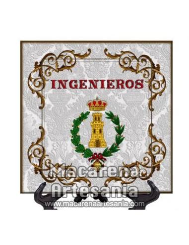 Azulejo cuadrado con el emblema de Ingenieros. Solo en venta en nuestra tienda online